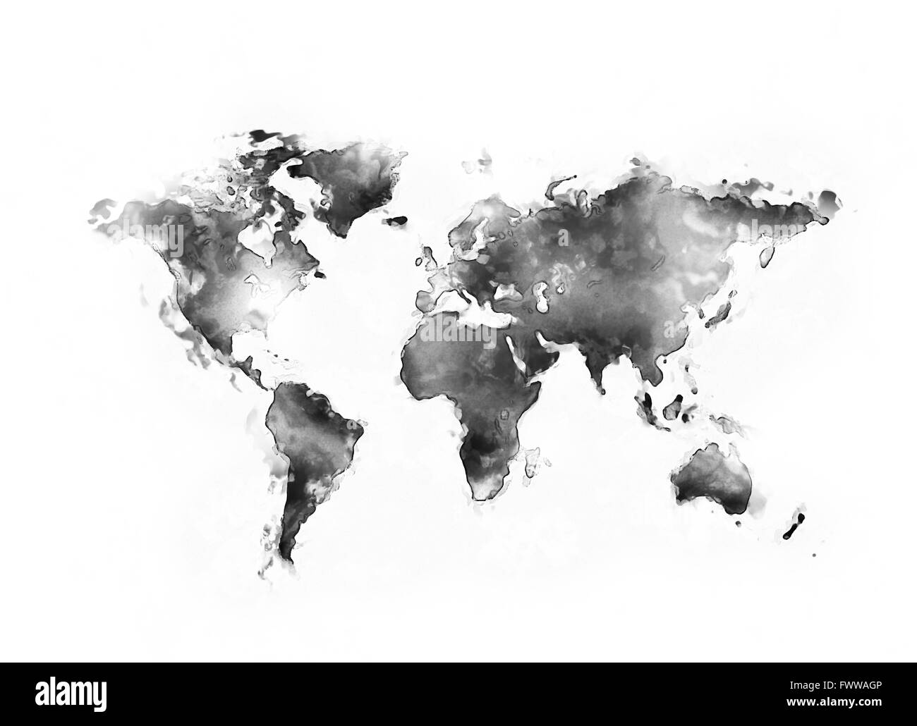Abstract world map painting o white background stock photo abstract world map painting o white background gumiabroncs Choice Image