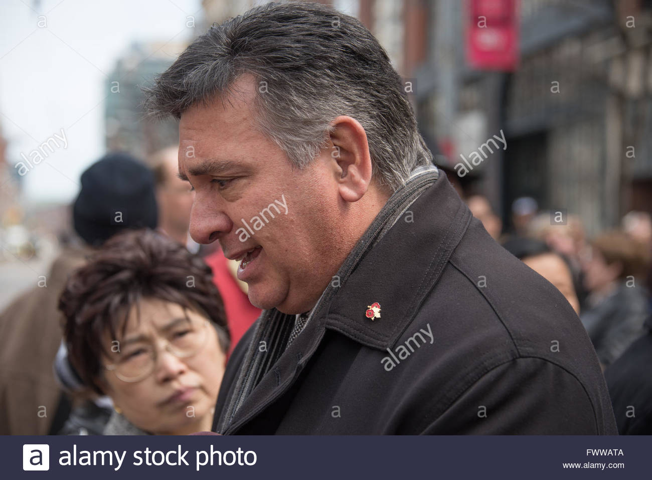 Charles Sousa, Ontario Finance Minister, during Rob Ford, former Toronto Mayor, funeral scenes. The procession walked - Stock Image