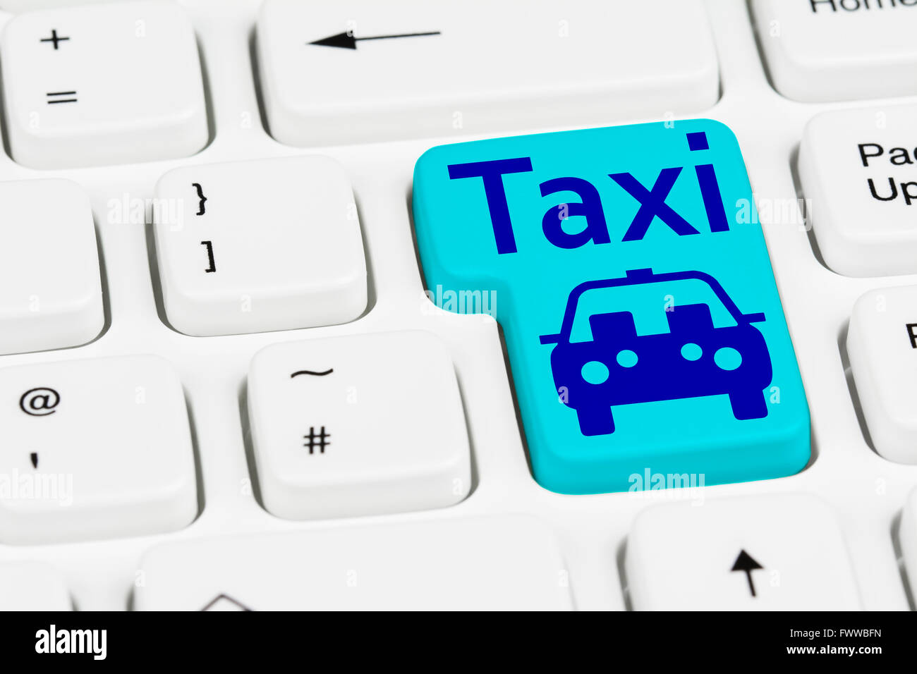 Taxi button on a computer keyboard. Stock Photo