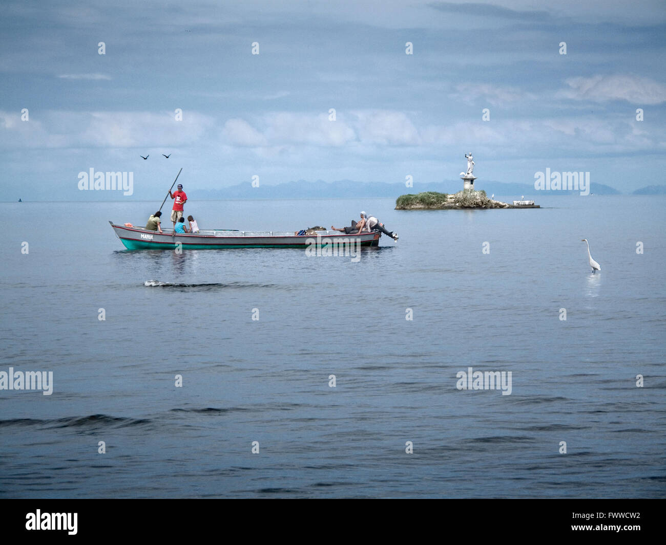 fishing boat in livingston guatemala Stock Photo