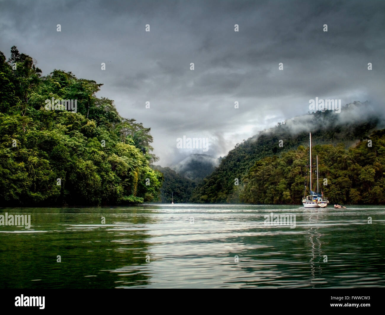 Guatemala, Izabal, near the town of Livingston, Rio Dulce River. Gorge and jungle view - Stock Image