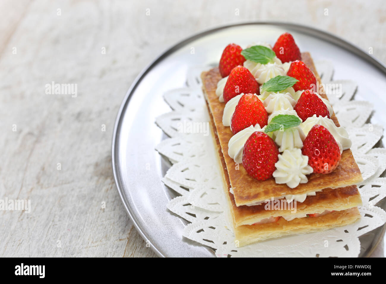homemade strawberry mille feuille, Napoleon pie, french pastry - Stock Image