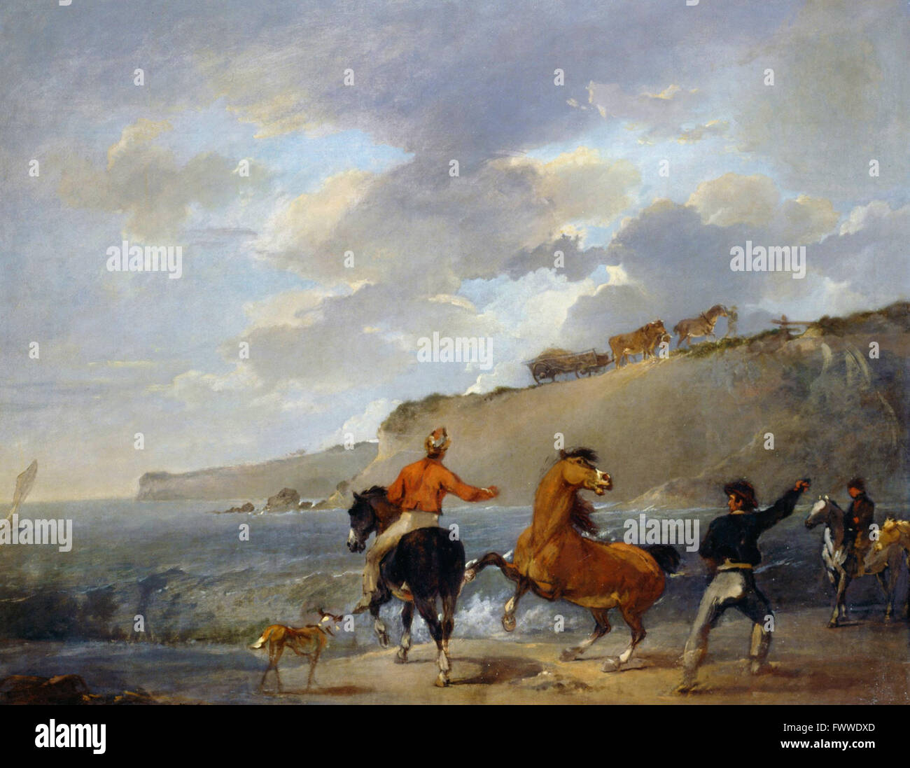 Bourgeois, Sir Peter Francis - Sea Shore with Rearing Horsry - Stock Image