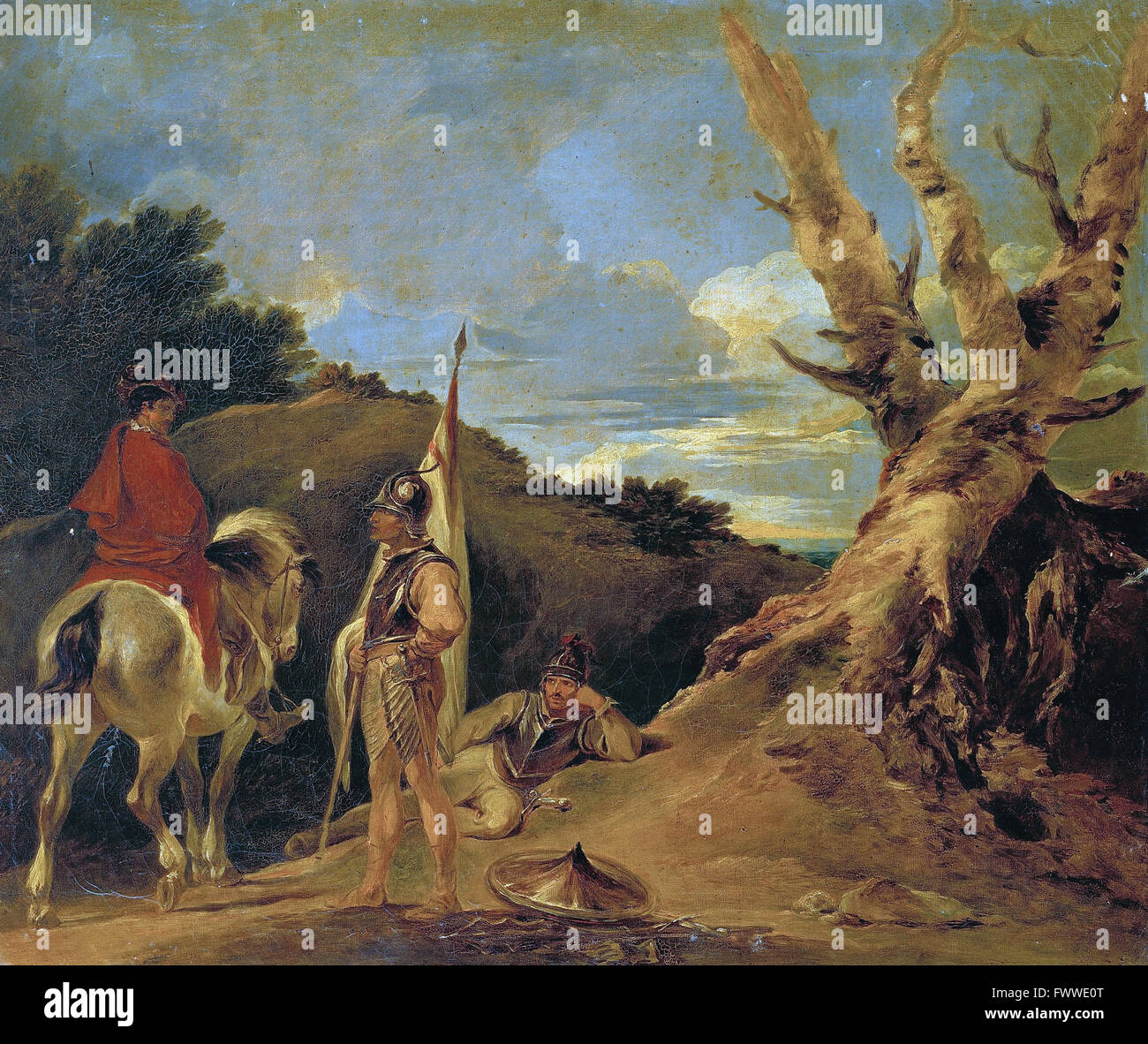 Bourgeois, Sir Peter Francis - Landscape with Soldiers - Stock Image