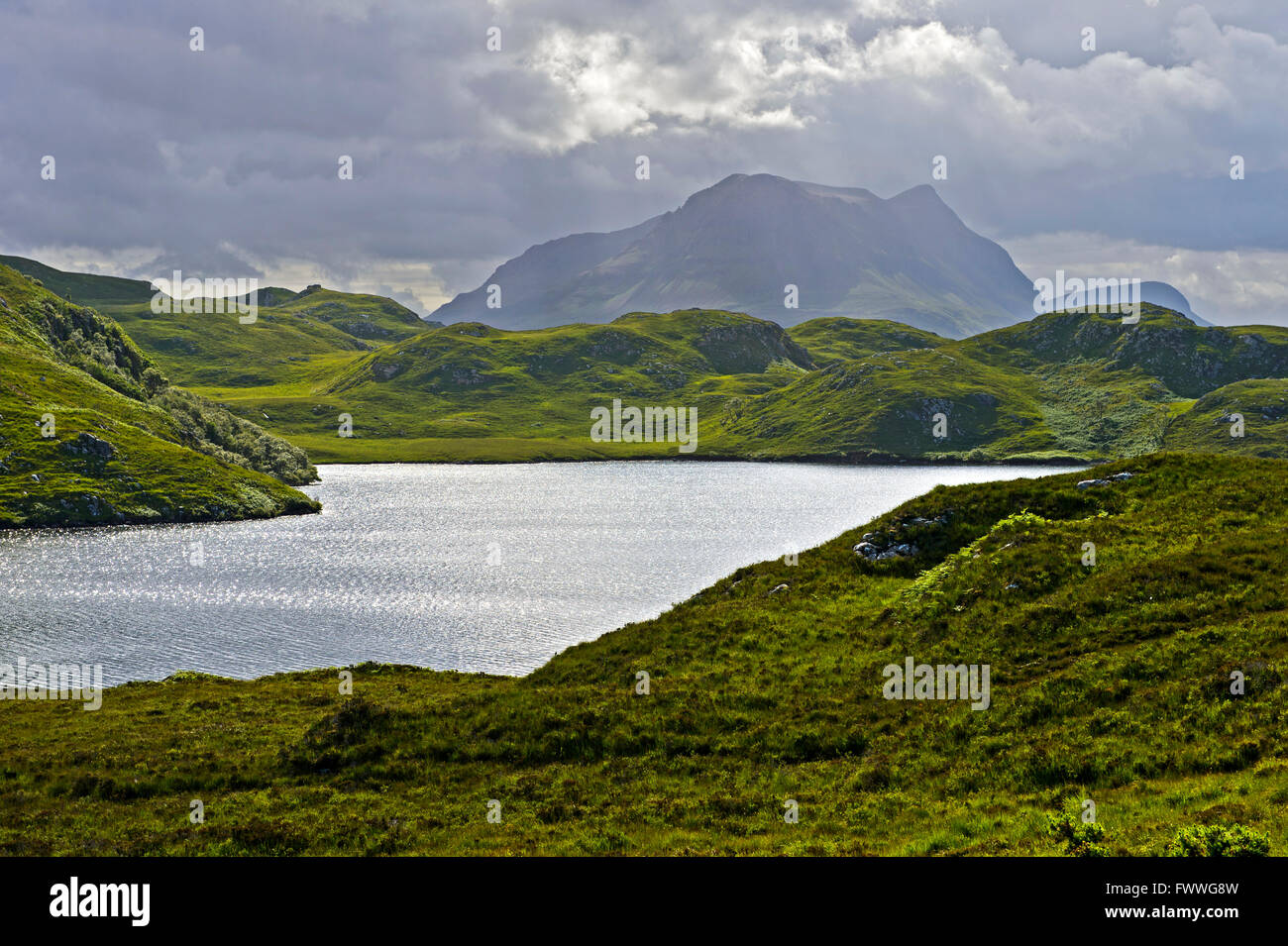 Lake or loch in the Scottish Highlands, Assynt, Scotland, United Kingdom - Stock Image
