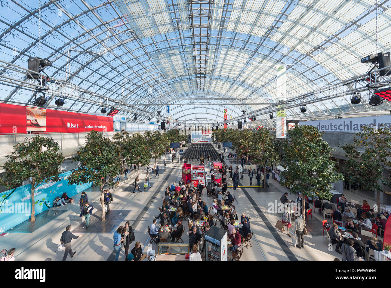 Neue Messe glass hall, book fair, Leipzig, Saxony, Germany - Stock Image