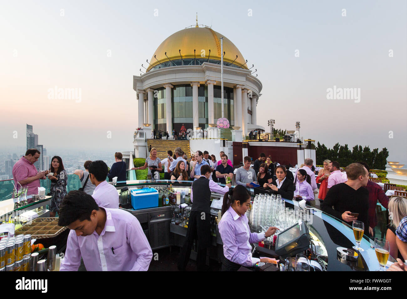 Sky Bar on the Lebua State Tower, guests, Bang Rak district, Bangkok, Thailand - Stock Image