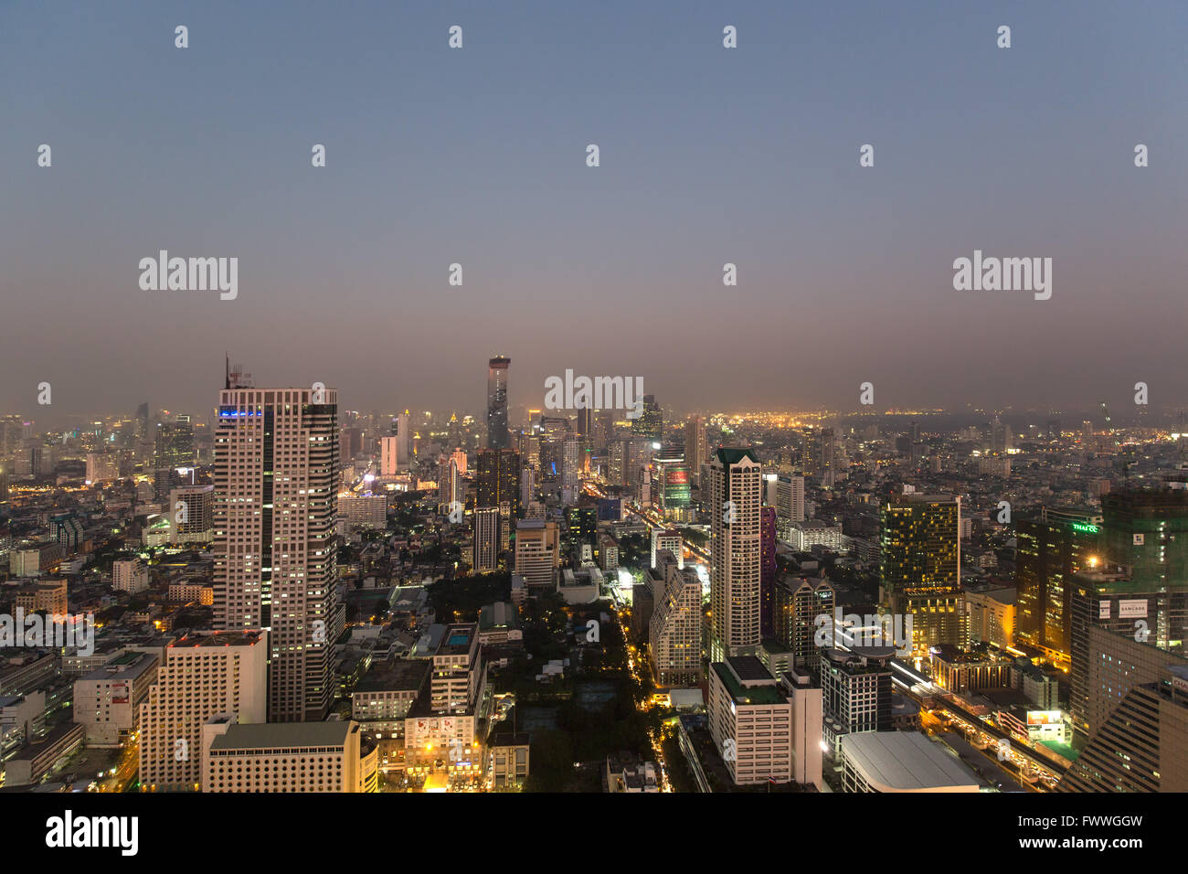 Panoramic view from the Sky Bar of Lebua State Tower on Bang Rak, Silom and Sathon district at dawn, Bangkok, Thailand - Stock Image