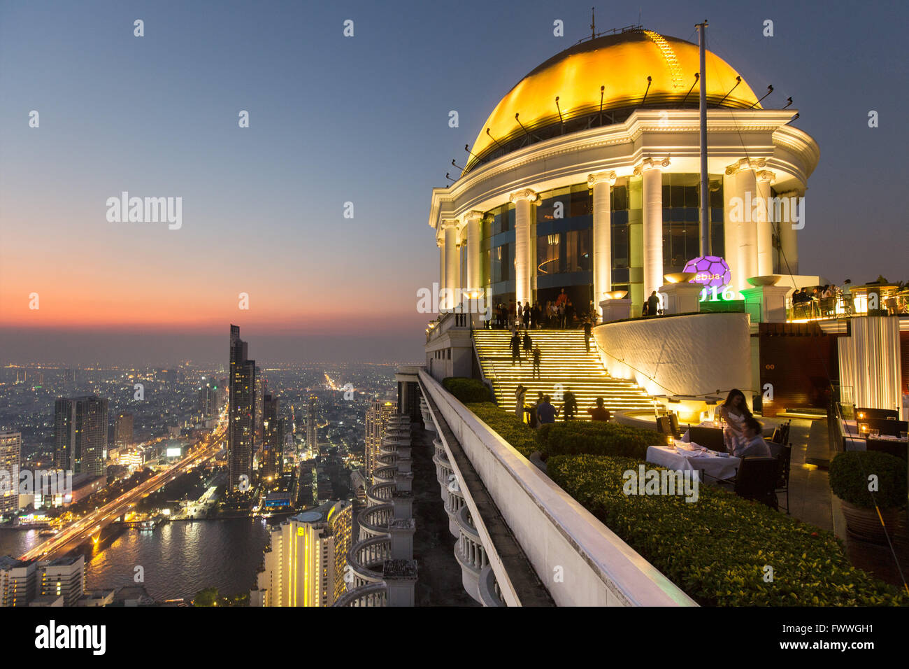 Sky Bar on the Lebua State Tower, panoramic views of the Chao Phraya River and the Khlong San district at dawn Stock Photo