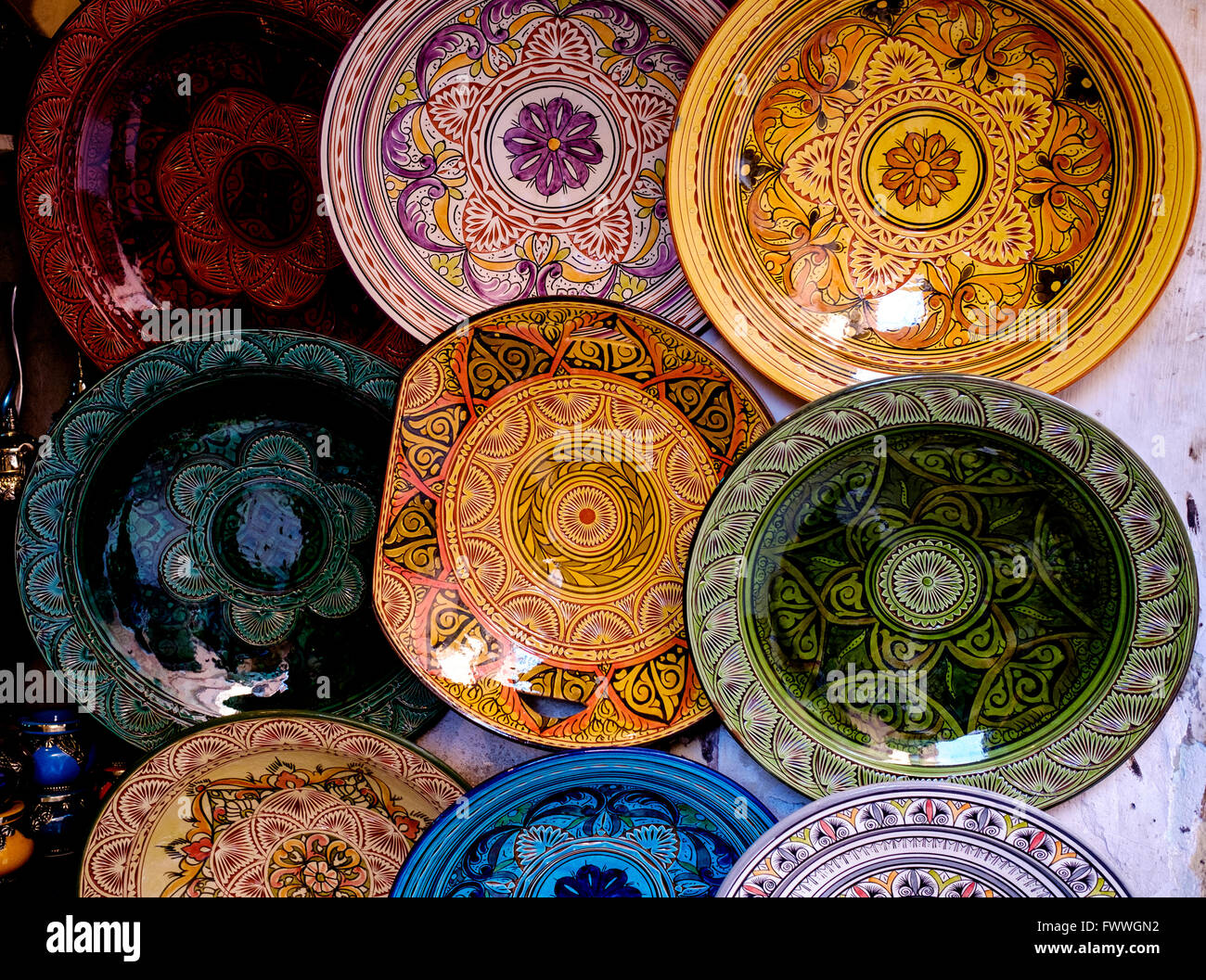 Decorative plates for sale in the Medina in Marrakech Morocco North Africa & Decorative plates for sale in the Medina in Marrakech Morocco ...