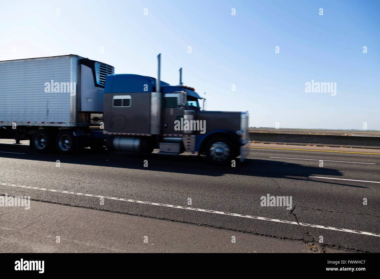 Single Truck On Highway With Motion Blur - Stock Image