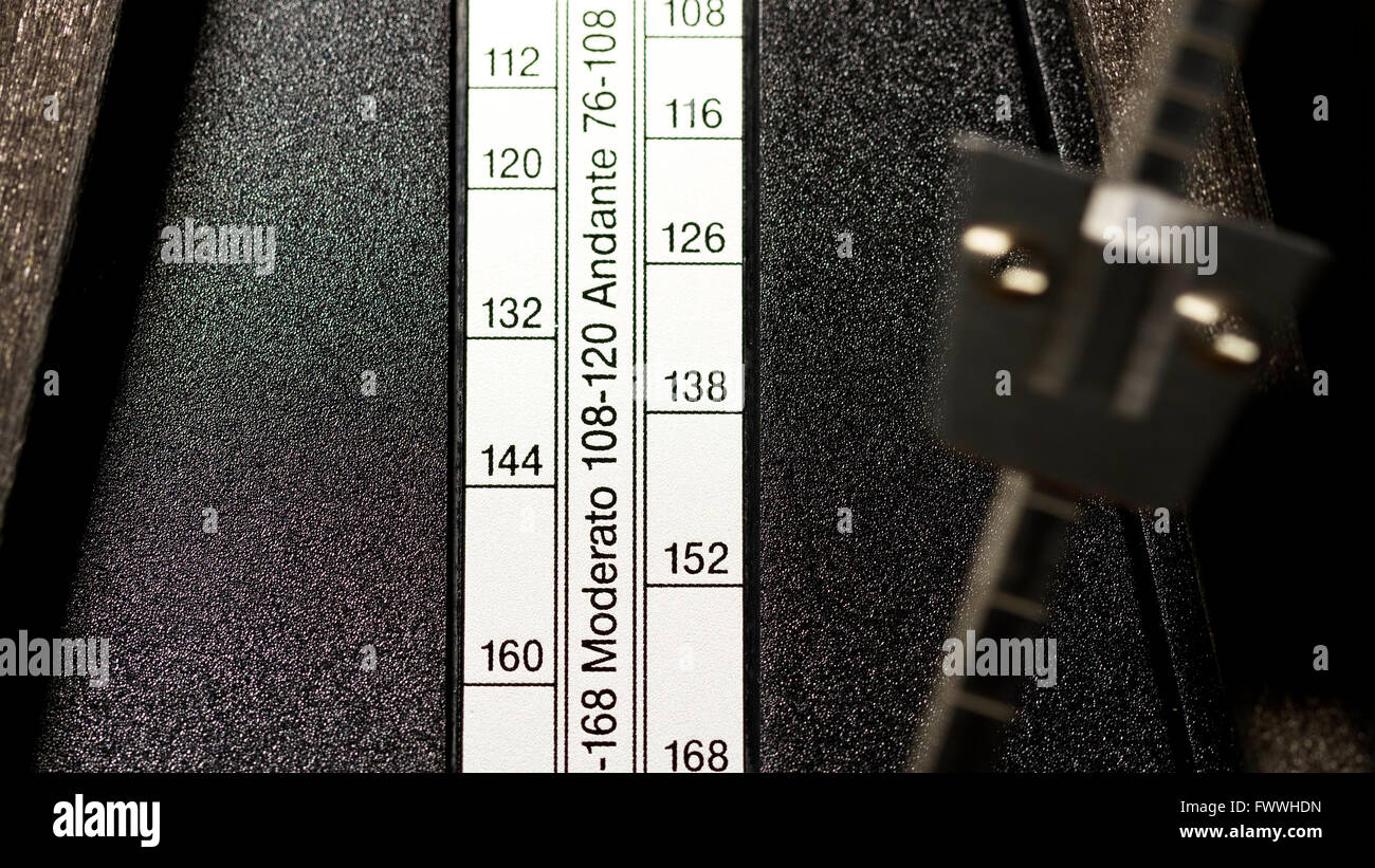 Closeup Of Wooden Metronome Tempo Setting Strip And Arm - Stock Image