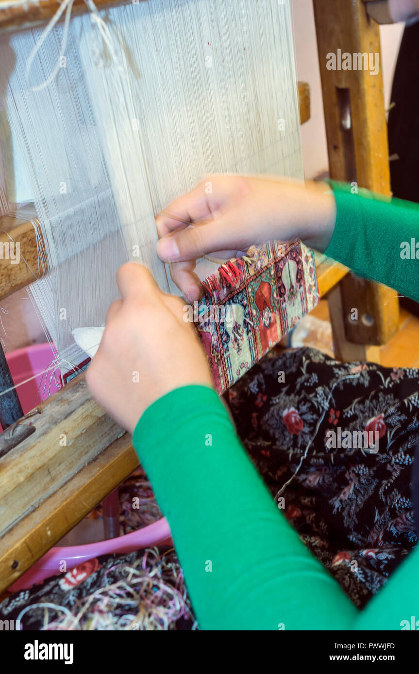Carpet weaving in Turkey Stock Photo
