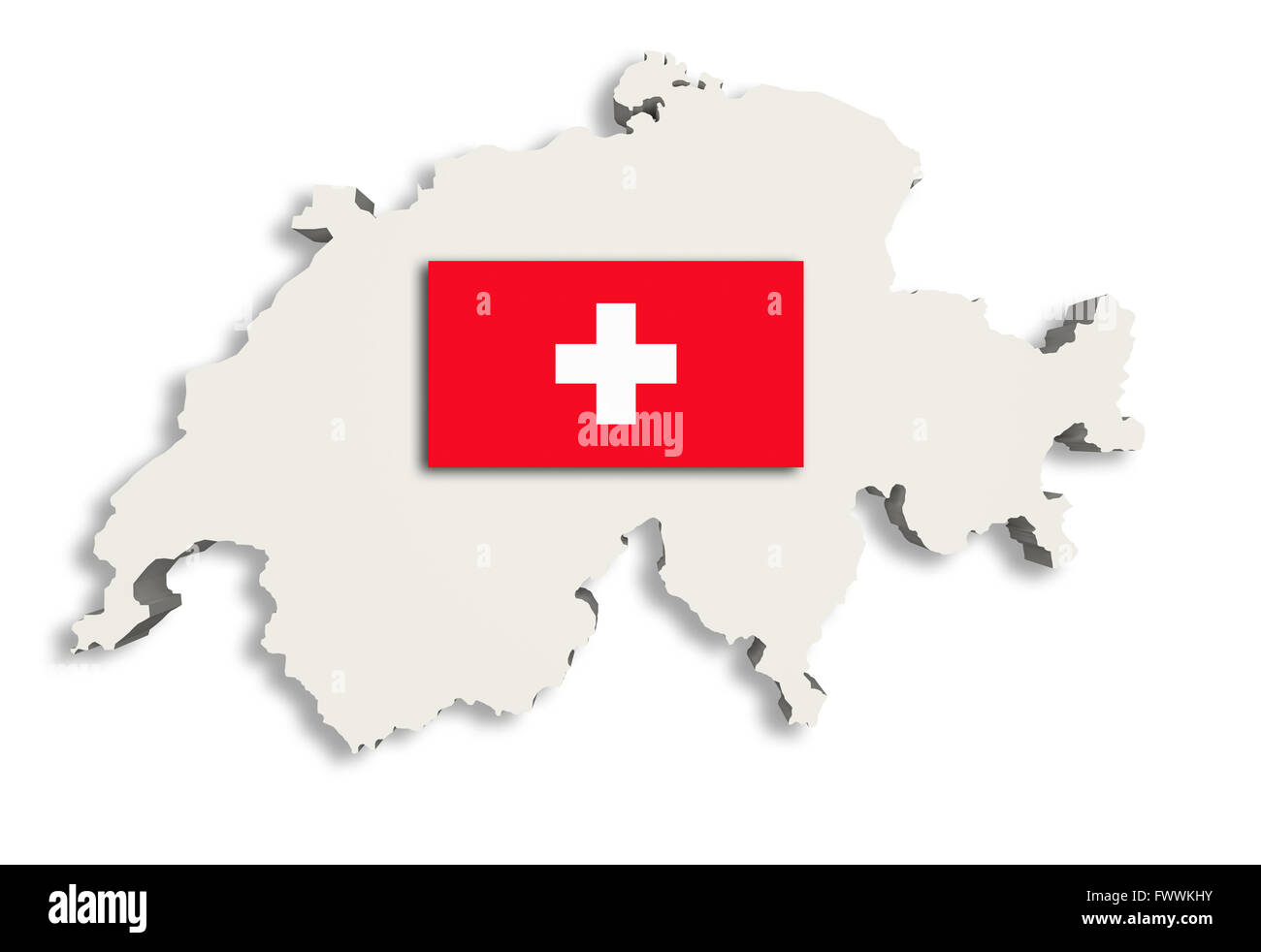 3d rendering of Switzerland map and a flag on the background - Stock Image
