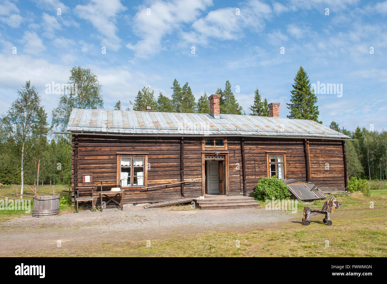 Traditional farm building in northern Sweden - Stock Image