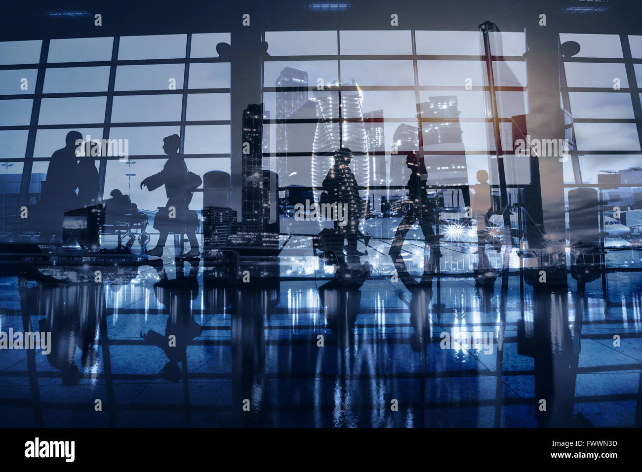 business people walking in modern city, abstract blue urban background, commuters, beautiful double exposure - Stock Image