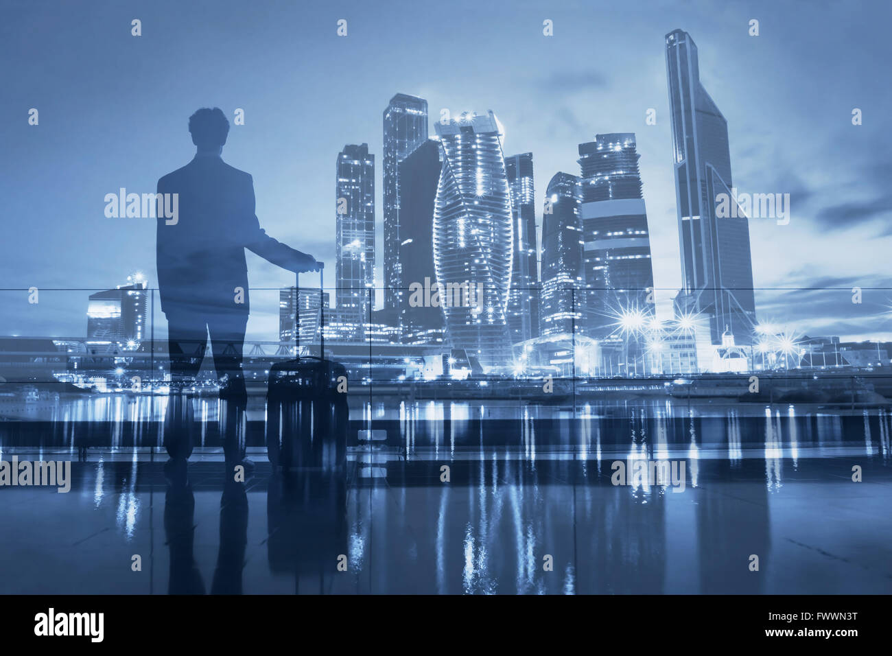business travel, double exposure of passenger waiting in airport and modern city skyline - Stock Image