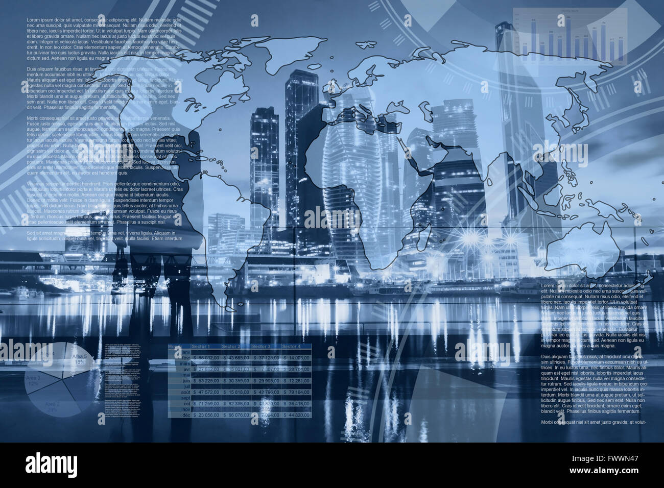 world economics and global trading, abstract infographics, international business partnership, dashboard Stock Photo