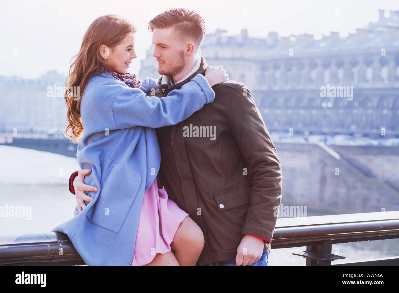 young happy couple looking to each other, spring fashion portrait Stock Photo