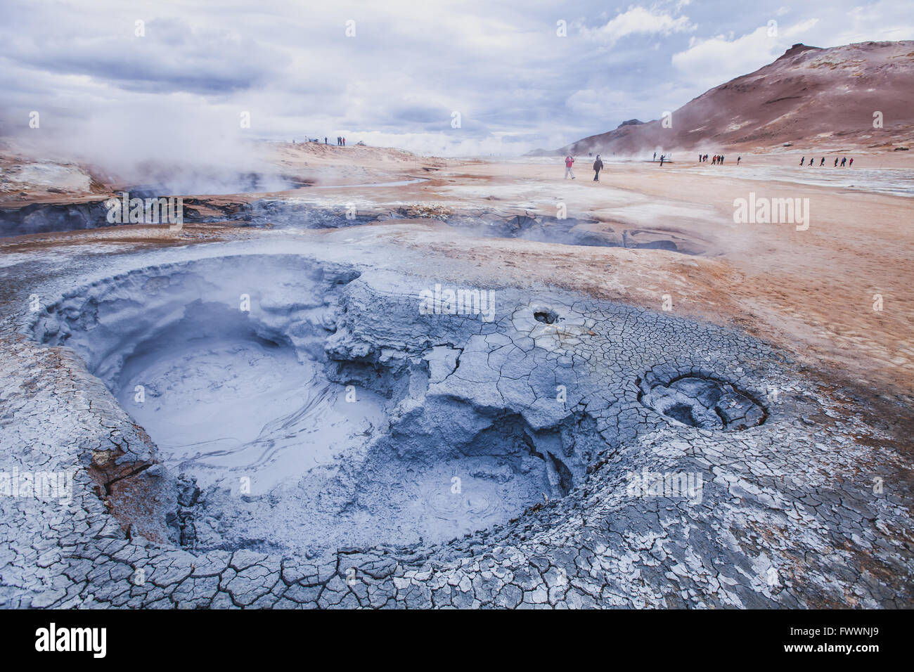 surreal landscape from Iceland, geothermal volcanic area near Myvatn - Stock Image