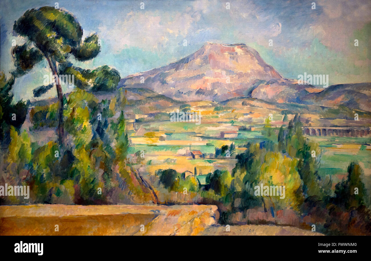 Montagne Sainte-Victoire, by Paul Cezanne, circa 1890, Musee D'Orsay Museum & Art Gallery, Paris, Europe - Stock Image