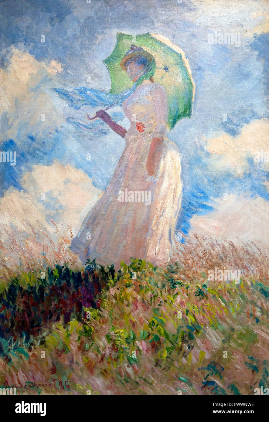 Study of a Figure Outdoors, Woman with a Parasol, Claude Monet, 1886, Musee D'Orsay Paris France Europe - Stock Image