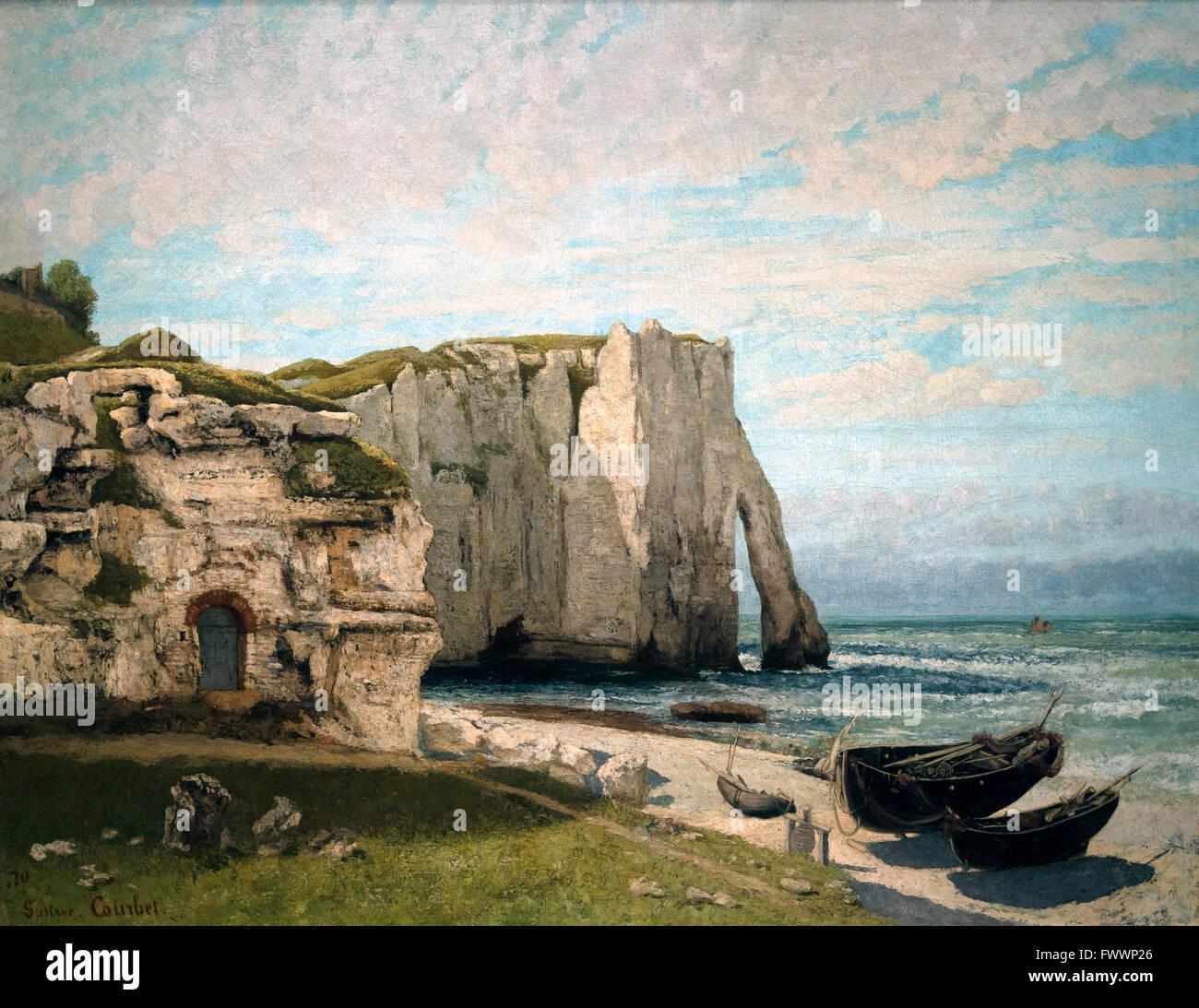 Etretat Cliffs after the Storm, La Falaise d'Etretat apres L'Orage, by Gustave Courbet, 1870, Musee D'Orsay, Paris, Stock Photo