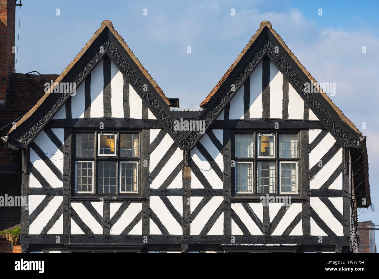 Detail of a typical medieval half-timbered building in the centre of Stratford Upon Avon, England. Stock Photo