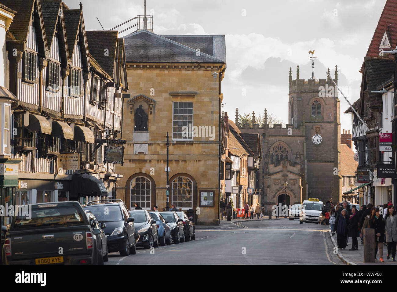 The High Street in Stratford Upon Avon, England. - Stock Image