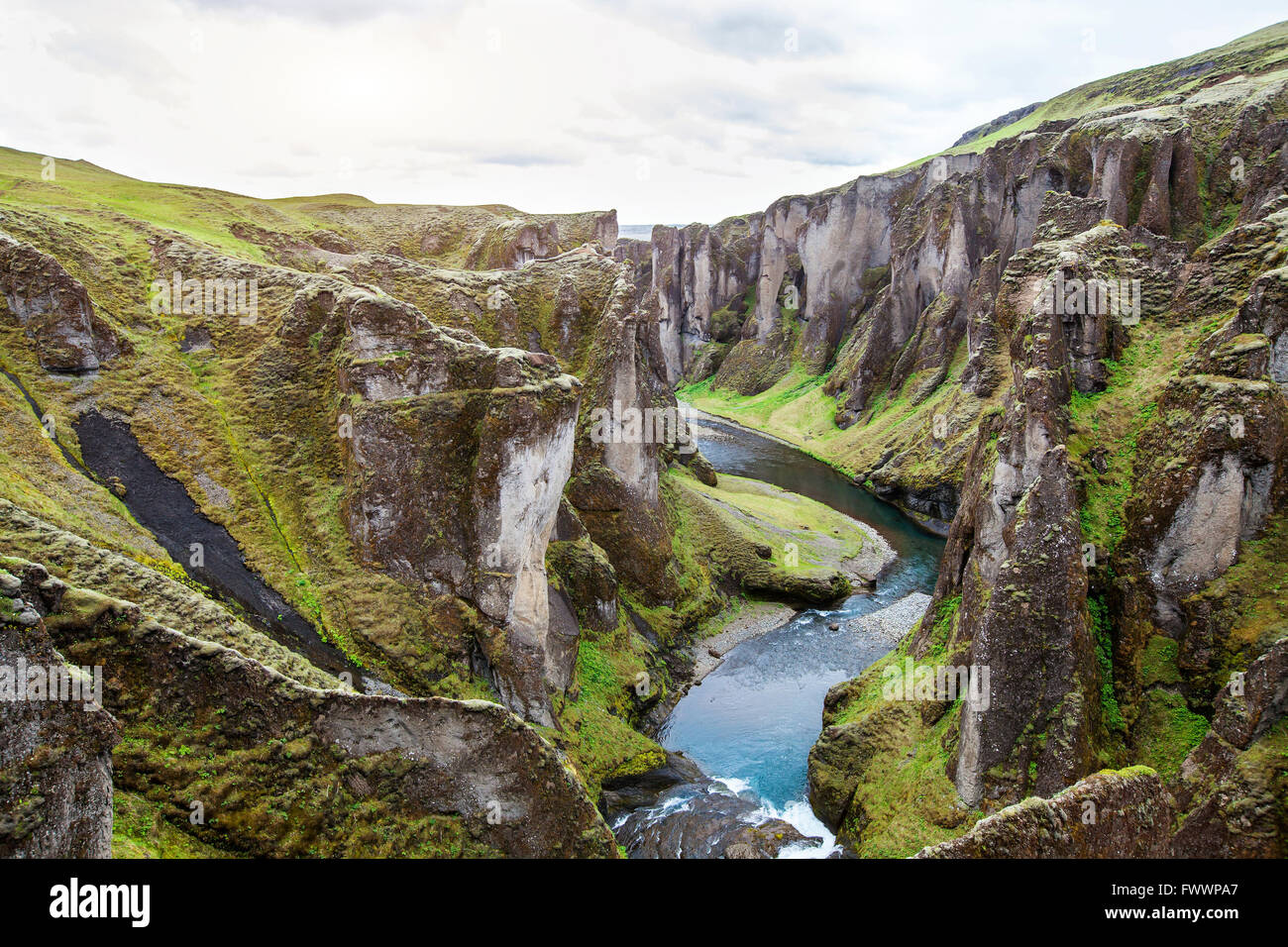Fjadrargljufur canyon, nature of Iceland, beautiful landscape - Stock Image