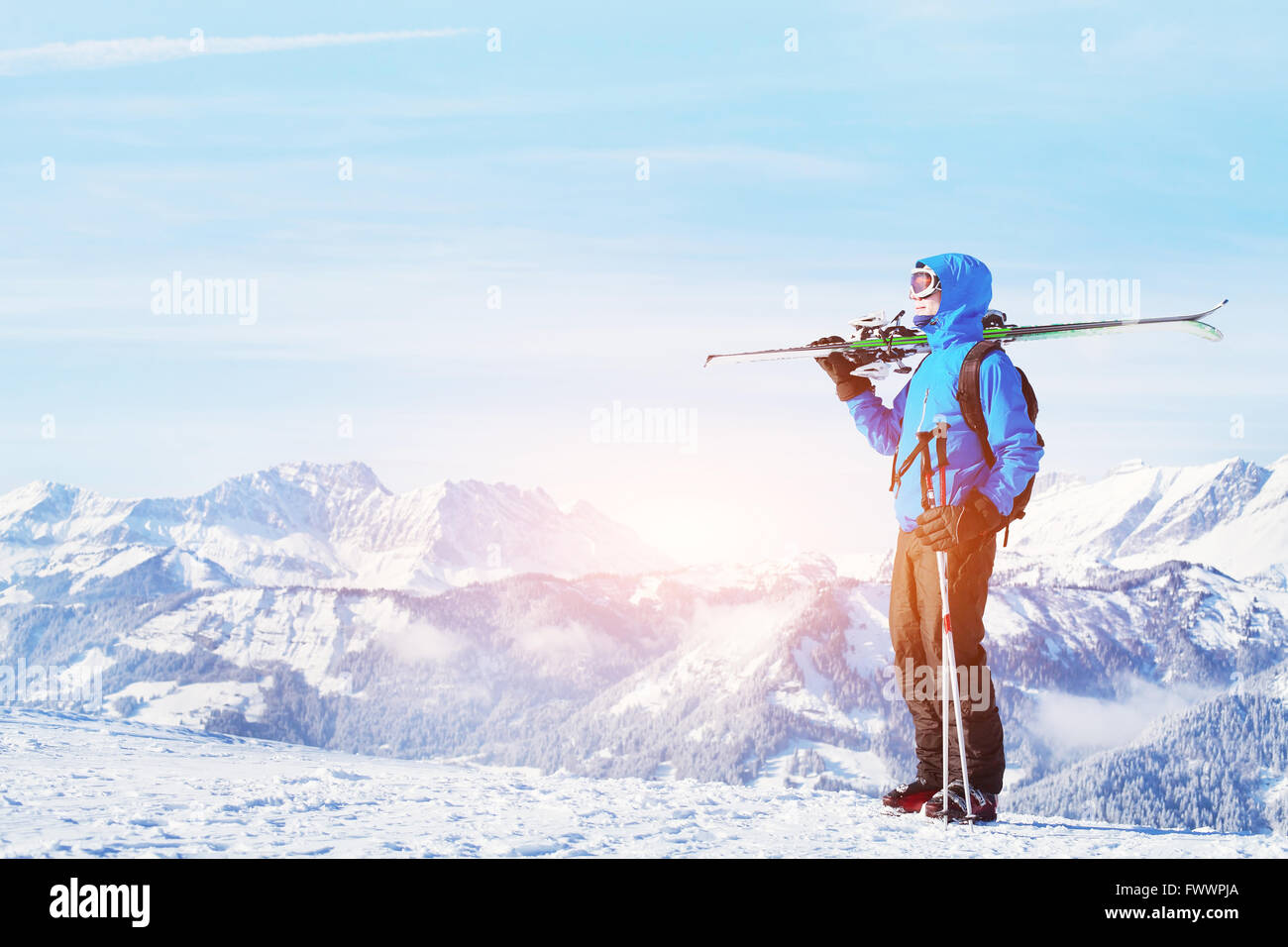 winter holidays, skiing off piste in the mountains, beautiful background - Stock Image