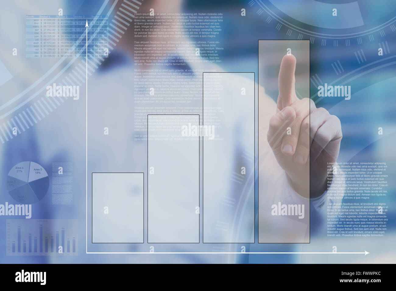 abstract dashboard on touchscreen, business infographics - Stock Image