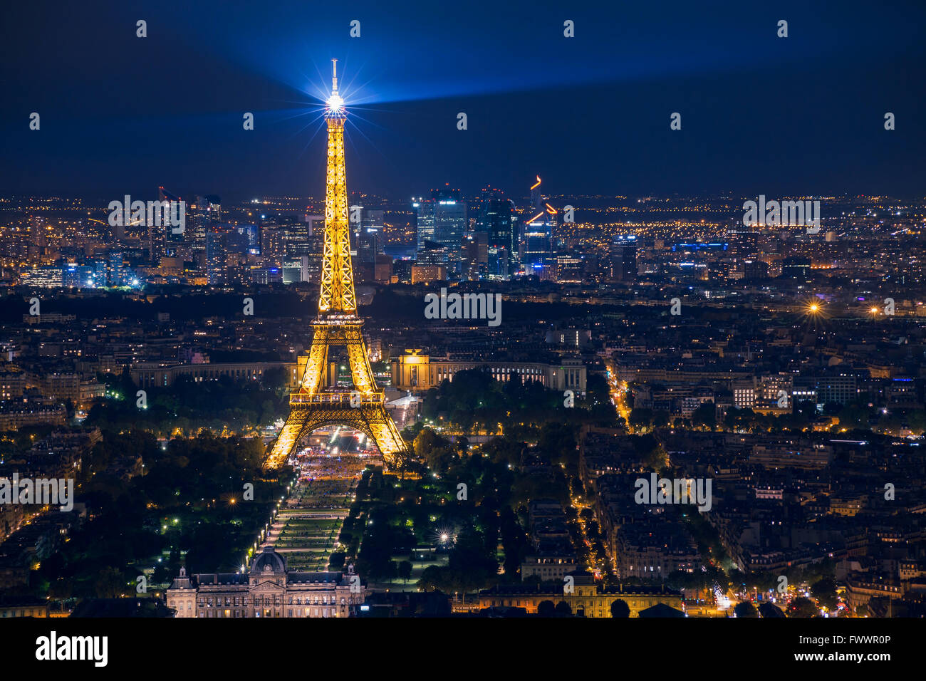 Beautiful Night Scene Of Illuminated Eiffel Tower And Panoramic Stock Photo Alamy