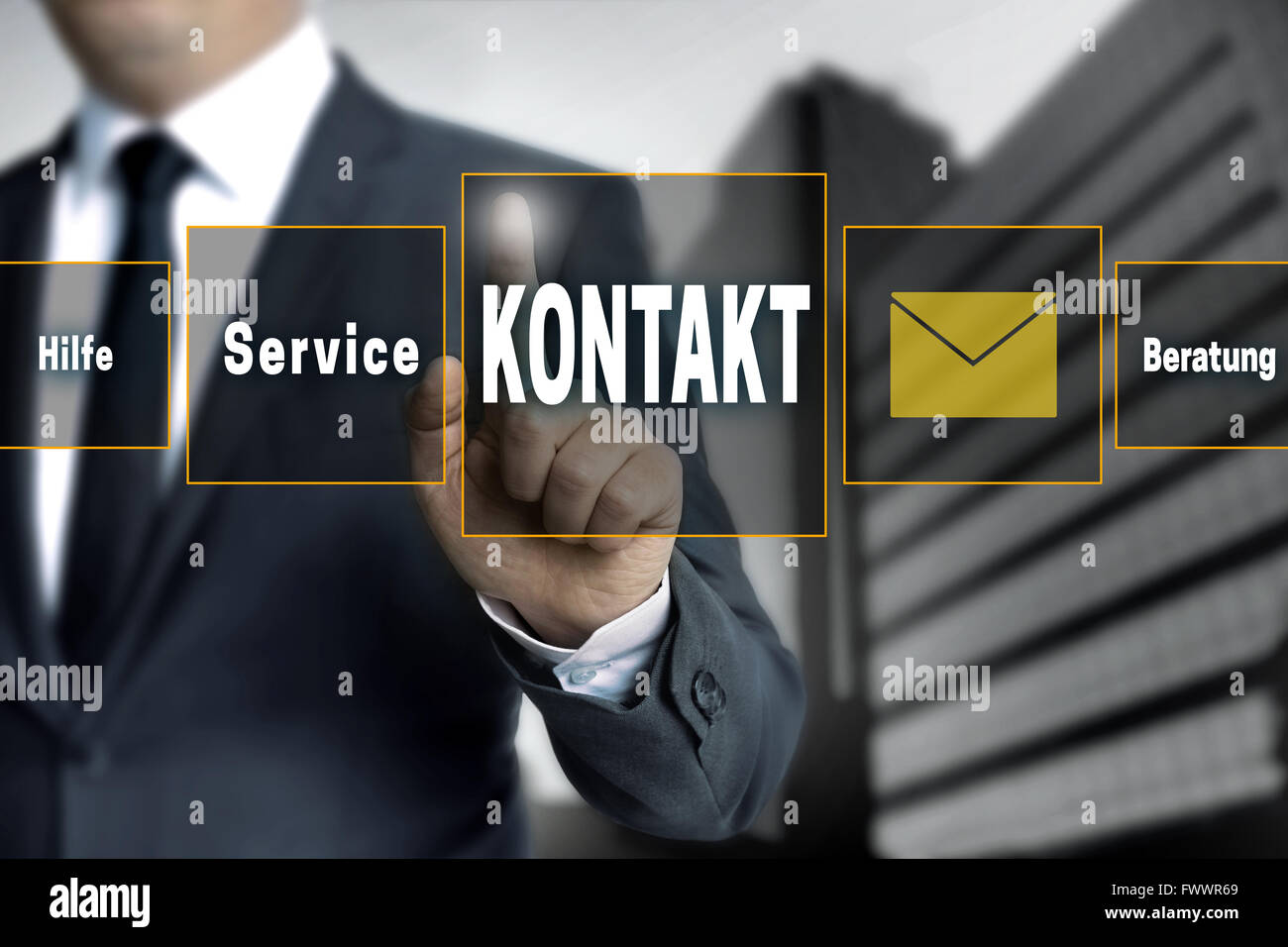 Kontakt, Hilfe, Beratung, service (in german language contact, help, consulting, service) touchscreen is operated - Stock Image