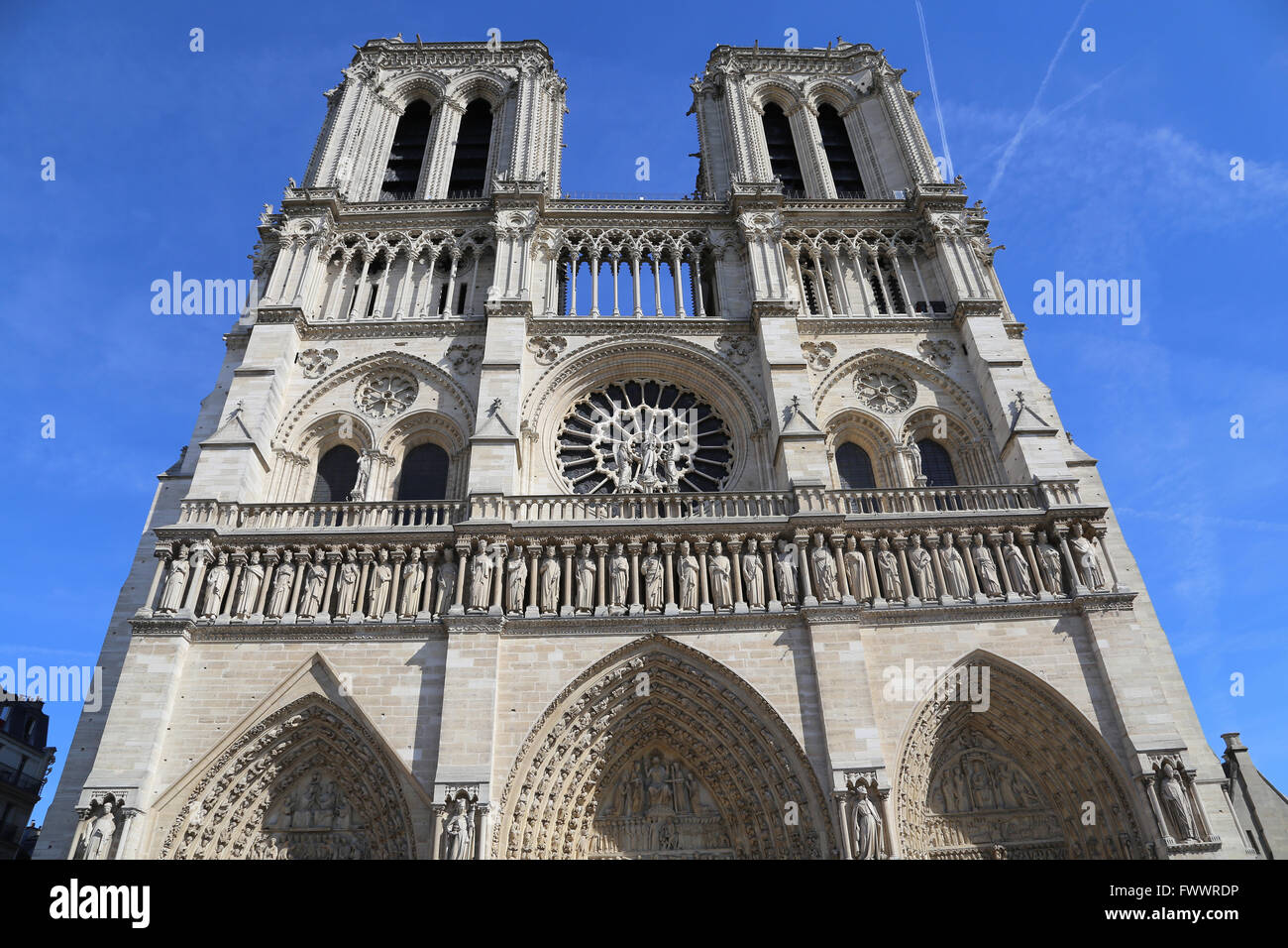 France. Paris. The Western facade of Cathedral of Notre-Dame. Early Gothic. 13th century. - Stock Image