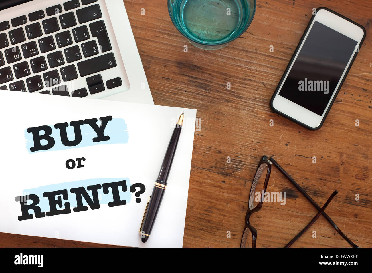 buy or rent choice concept, question, real estate business - Stock Image
