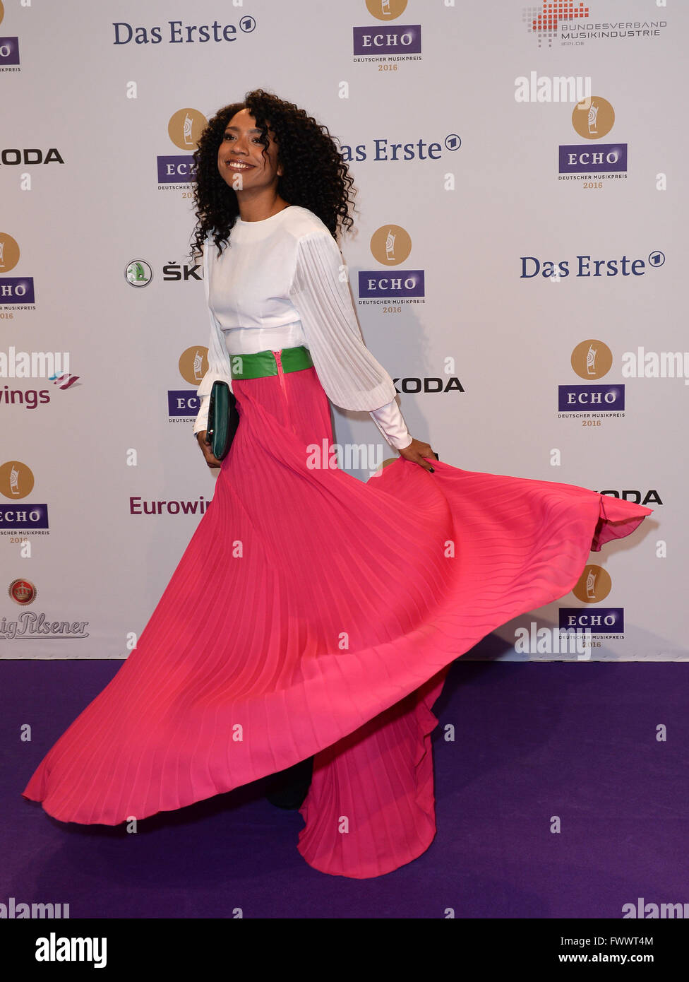 Berlin, Germany. 07th Apr, 2016. Singer Y'Akoto arrives to the 25th Echo music award ceremony in Berlin, Germany, Stock Photo