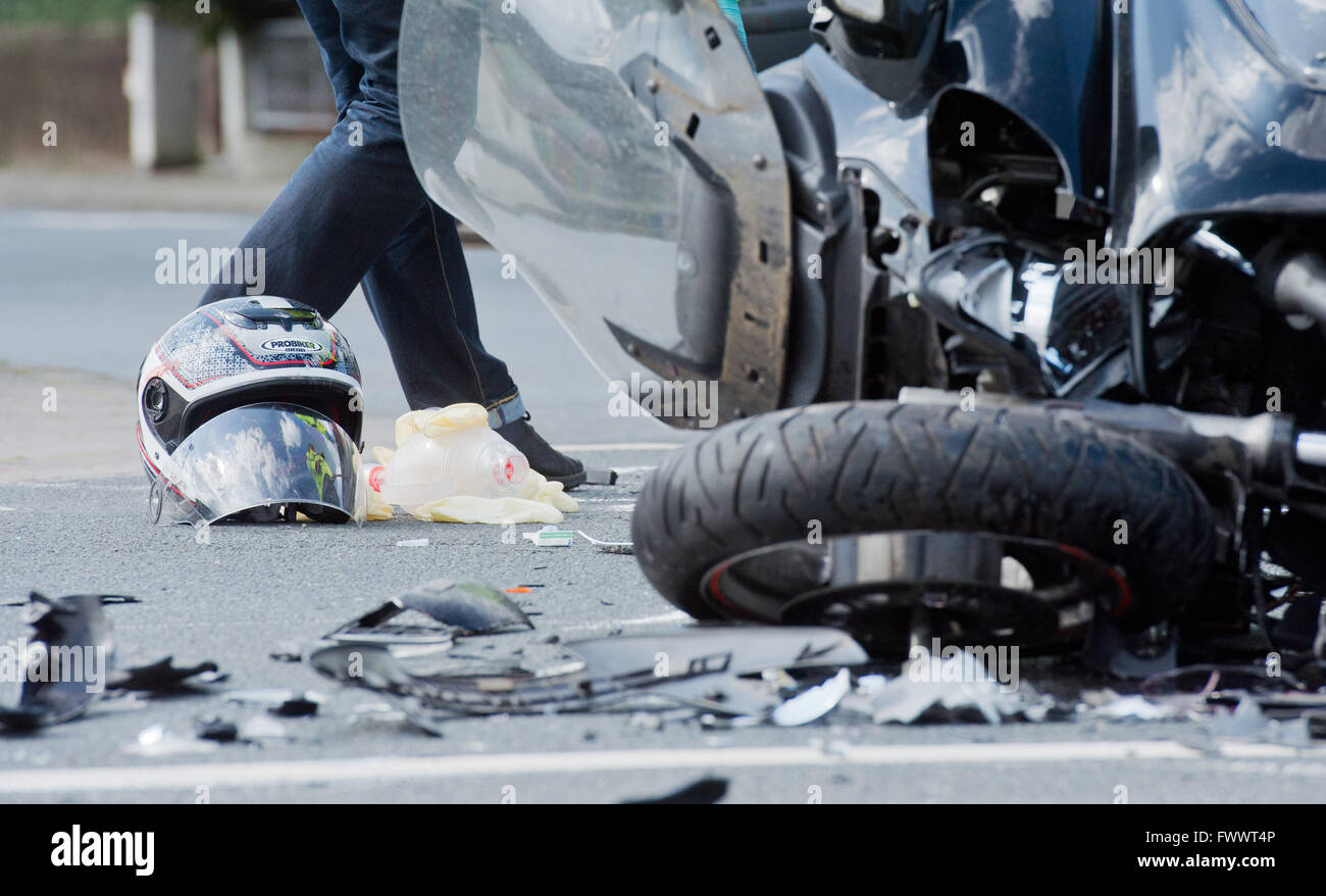 Hanover Germany 07th Apr 2016 A Damaged Motorcycle Helmet Lying