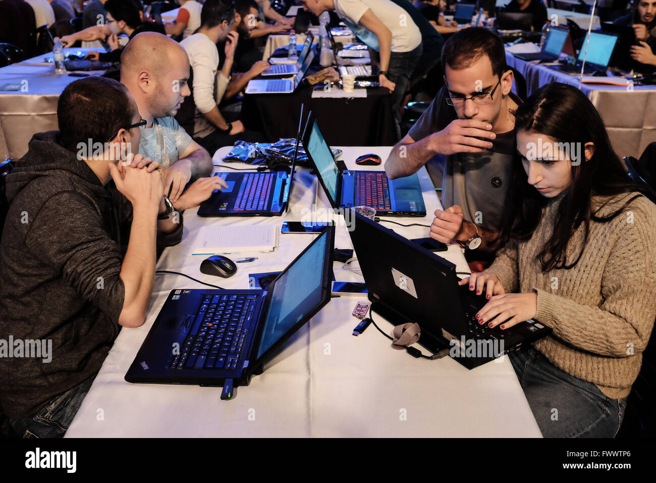 Jerusalem, Israel.  7th April, 2016. The First Station complex hosts Cyber (K)night 2016 in which teams compete Stock Photo