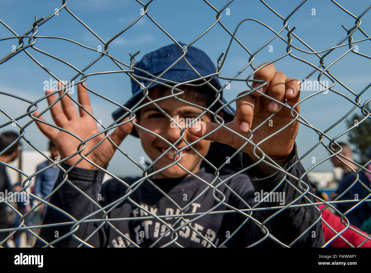 Idomeni, Greece. 7th Apr, 2016. 12,000 refugees remain in limbo in the Greek border town of Idomeni. A comprehensive - Stock Image
