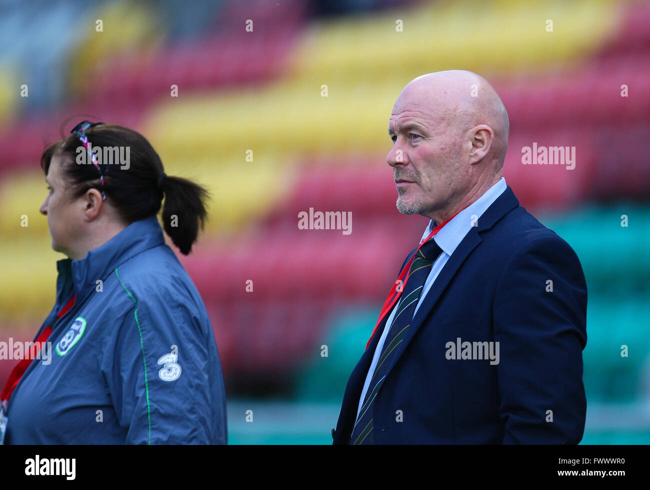 Dublin, Ireland. 7th April, 2016. Dave Connell Ireland U19 Coach, Ireland Women U19 v Azerbaijan Women U19, UEFA - Stock Image