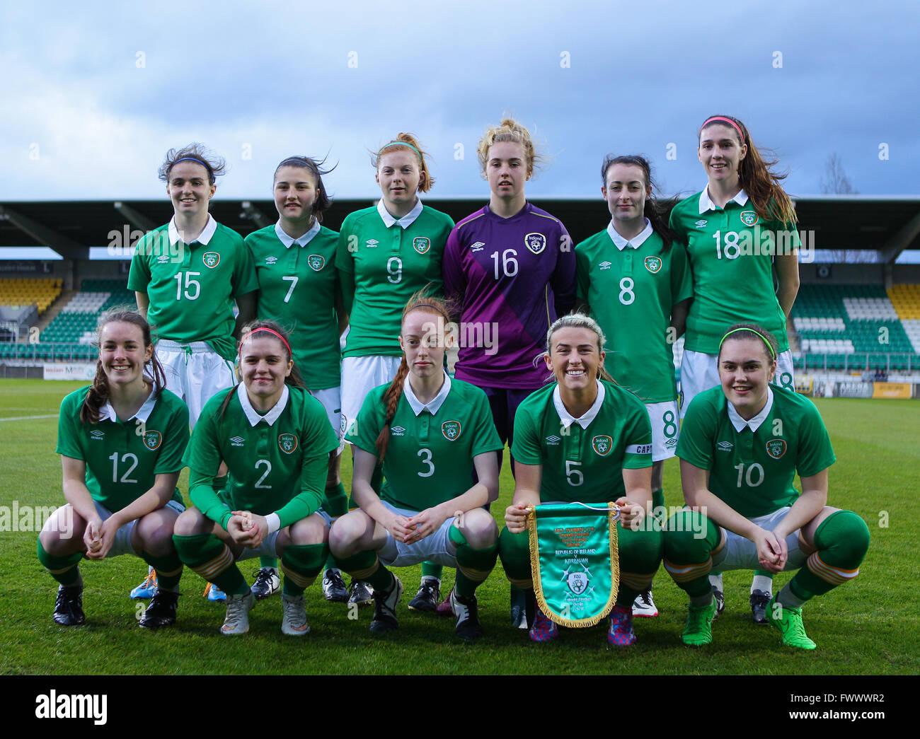 Dublin, Ireland. 7th April, 2016. The Irish squad, Ireland Women U19 v Azerbaijan Women U19, UEFA European Championship - Stock Image