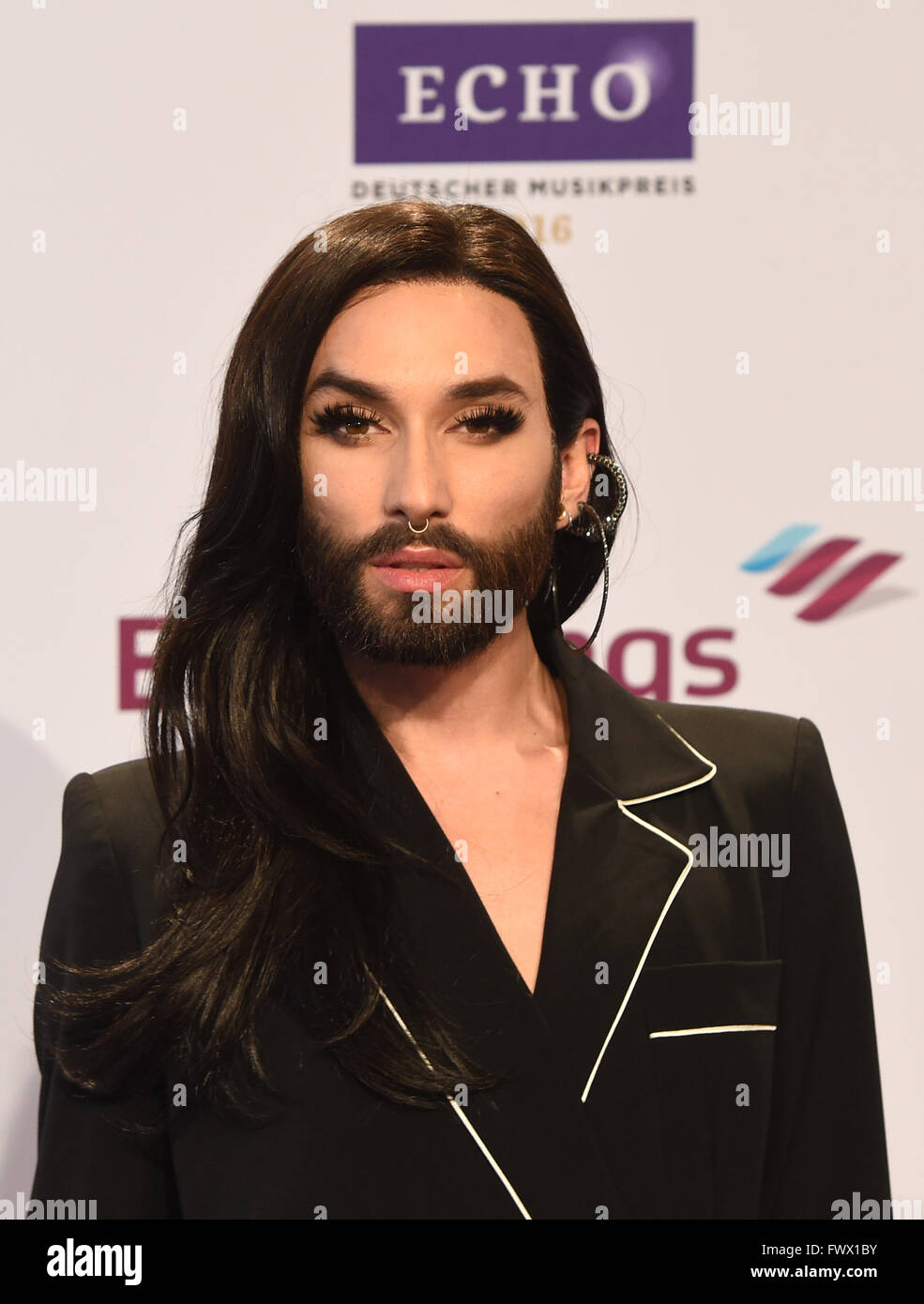 Berlin, Germany. 07th Apr, 2016. Travestie artist Conchita Wurst arrives for the 25th award show for the German Stock Photo
