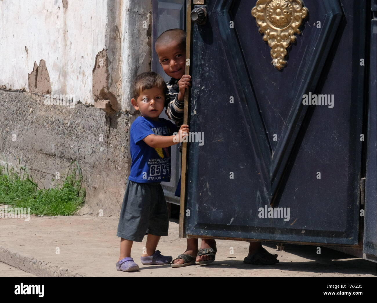 Khatlon Region, Tajikistan. 7th Apr, 2016. Gypsy children in the village (kishlak) of Zarkoron. Tajikistan's - Stock Image