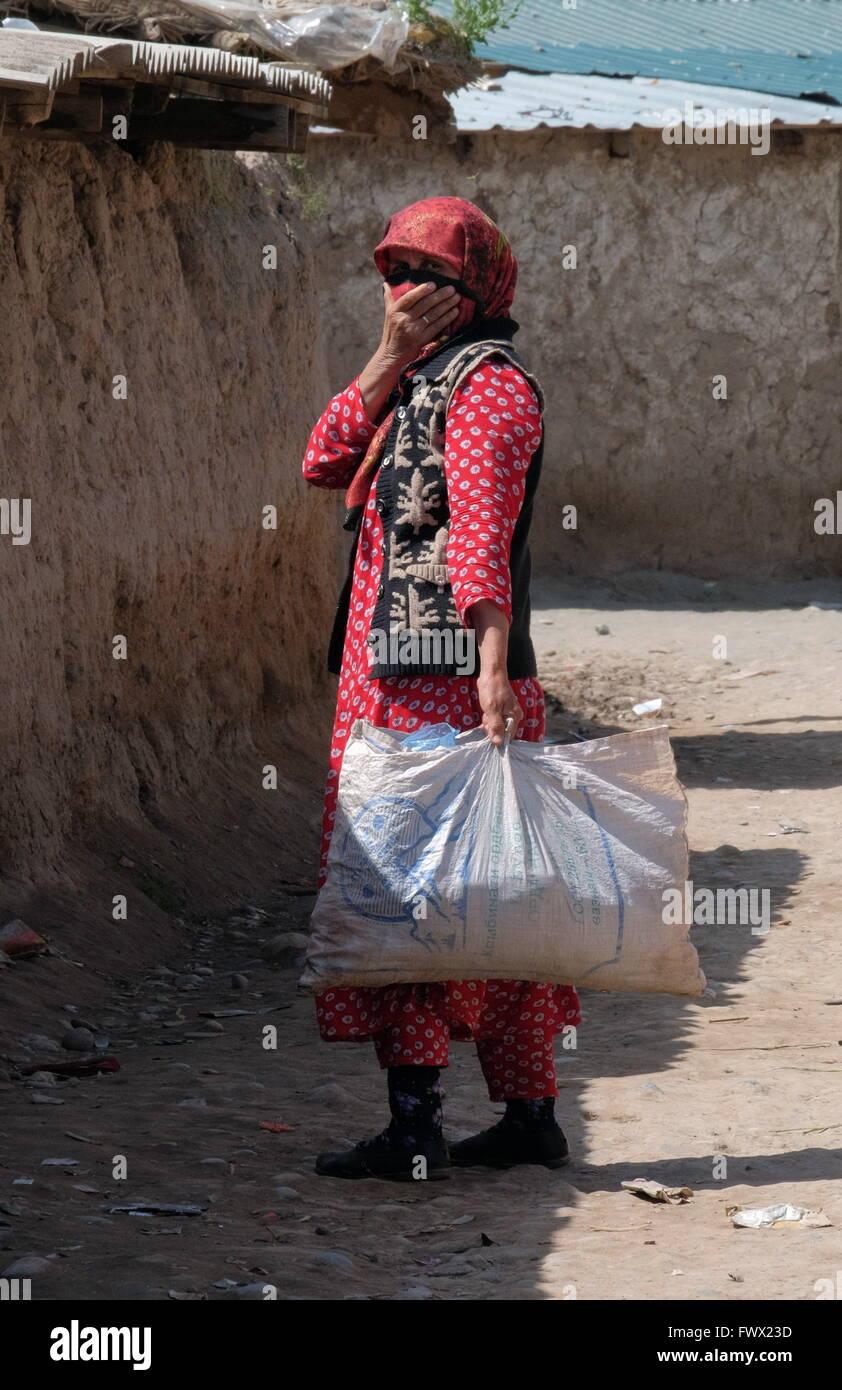 Khatlon Region, Tajikistan. 7th Apr, 2016. A Gypsy woman with a donkey in the village (kishlak) of Zarkoron. Tajikistan's - Stock Image