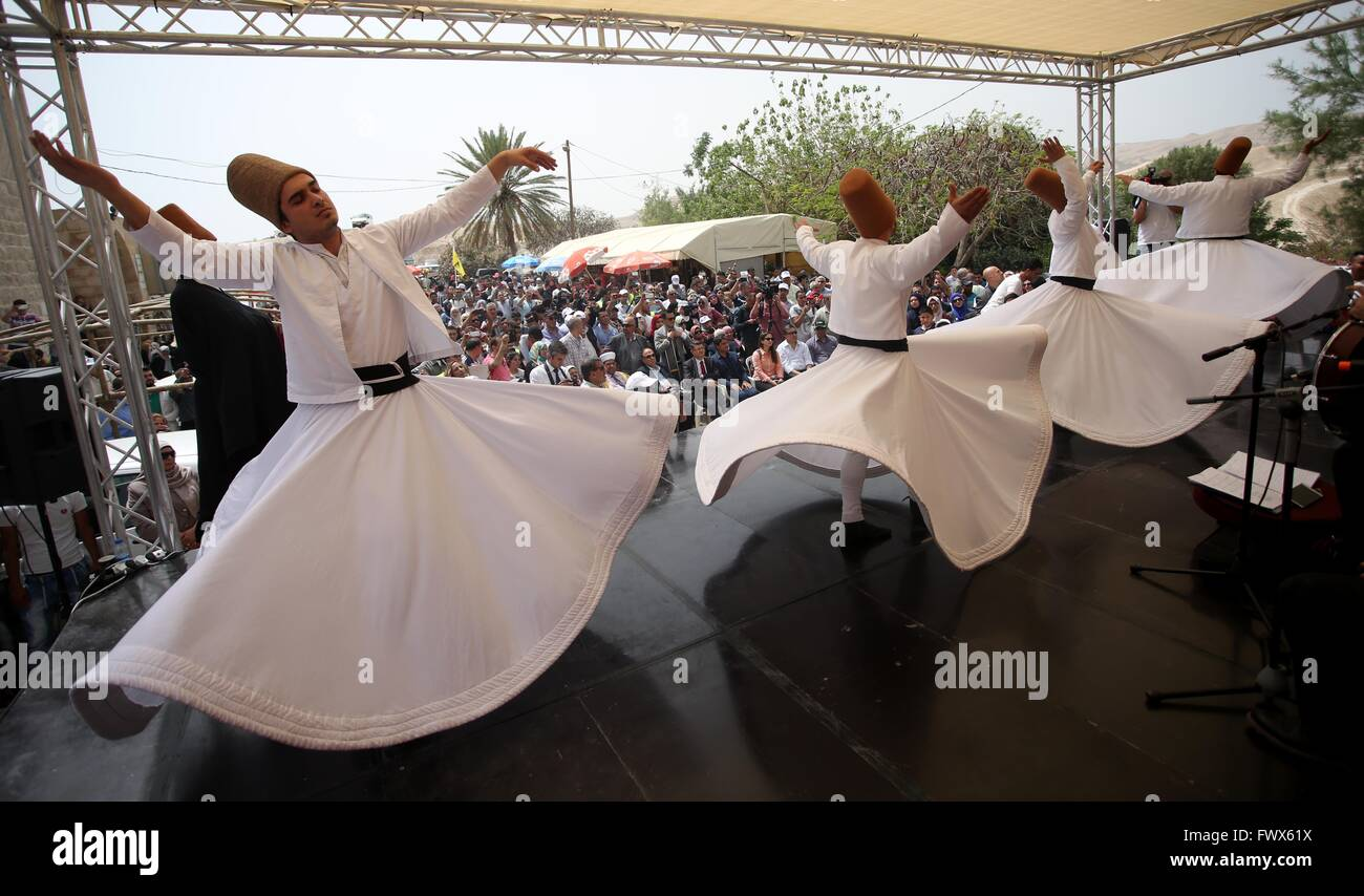 Jericho. 8th Apr, 2016. Turkish Whirling dervishes perform during a festival at the Nabi Musa mosque near the West - Stock Image