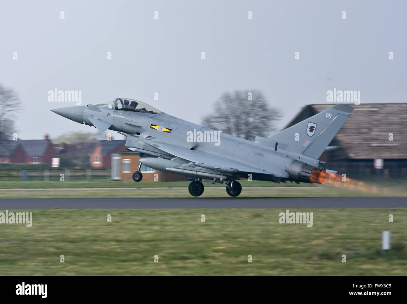 Coningsby, UK. 8th April 2016. RAF Typhoon jets are  scrambled and go supersonic for an intercept over Wales. - Stock Image