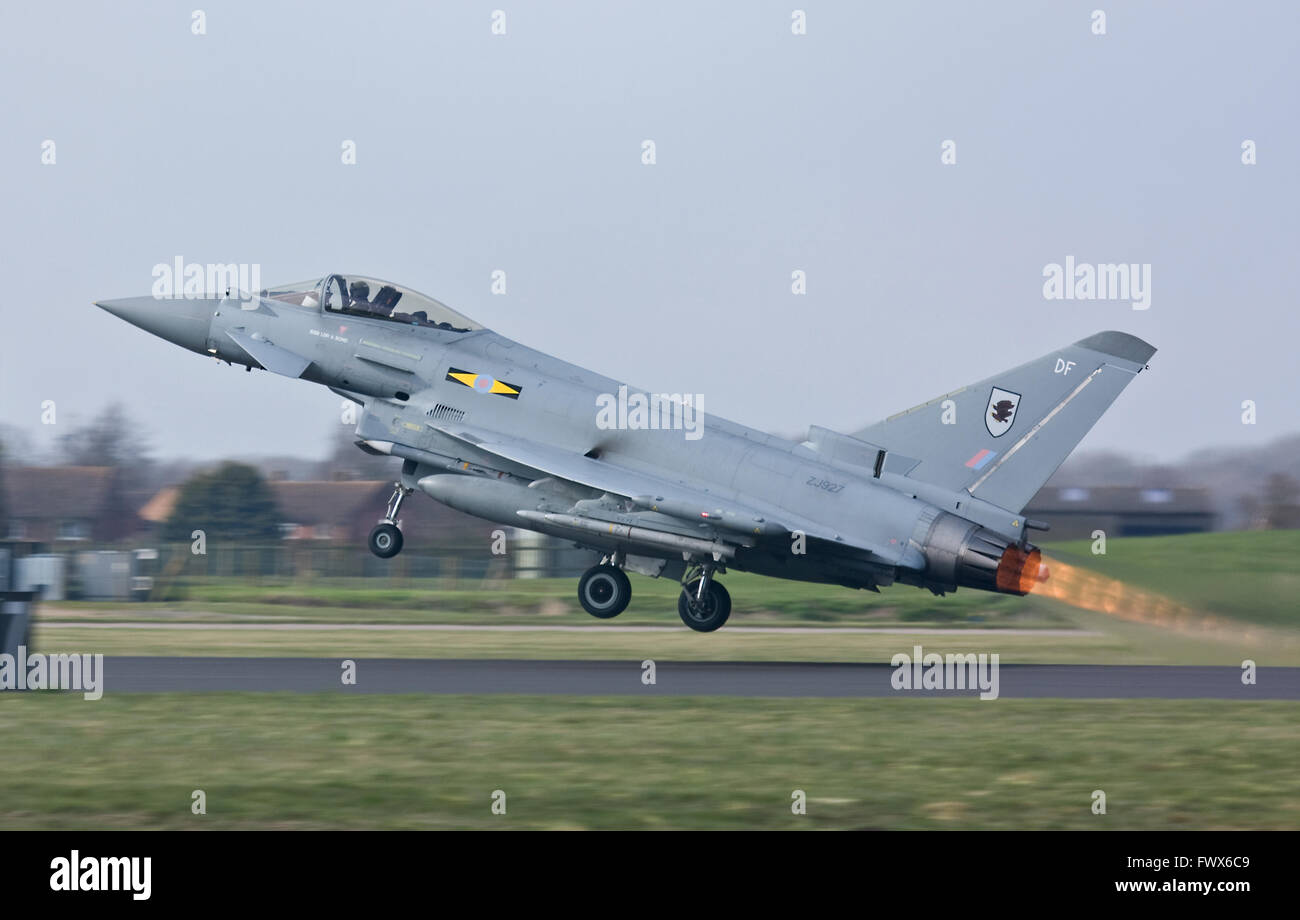 RAF Typhoon jets are  scrambled and go supersonic for an intercept over Wales. - Stock Image