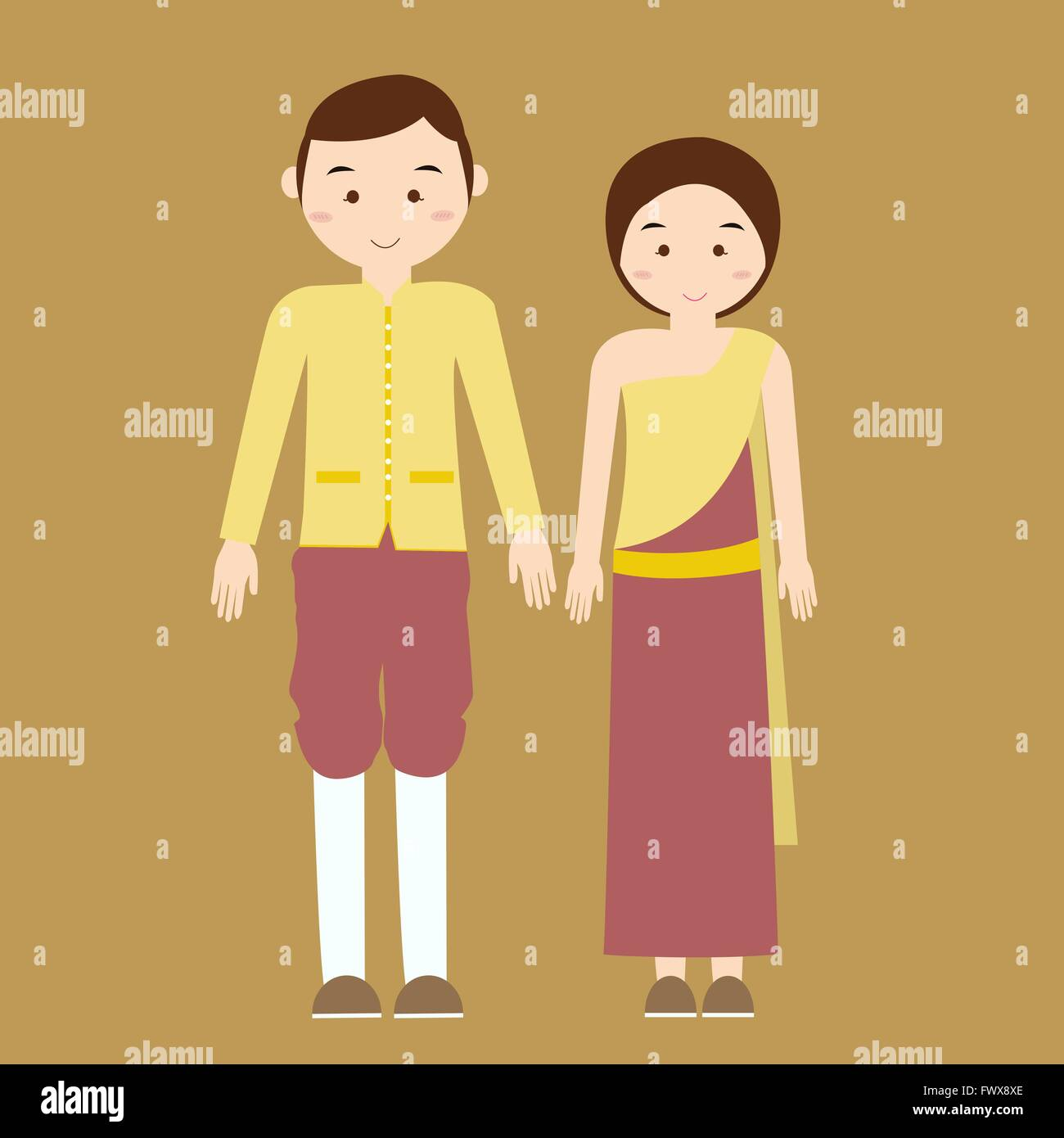 03485291a couple man woman wearing thai traditional costume clothes dress male female  vector illustration