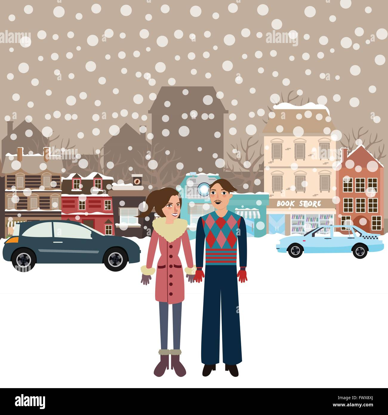 couple man woman male female standing in snow falling winter town wearing jacket car on street city Stock Vector